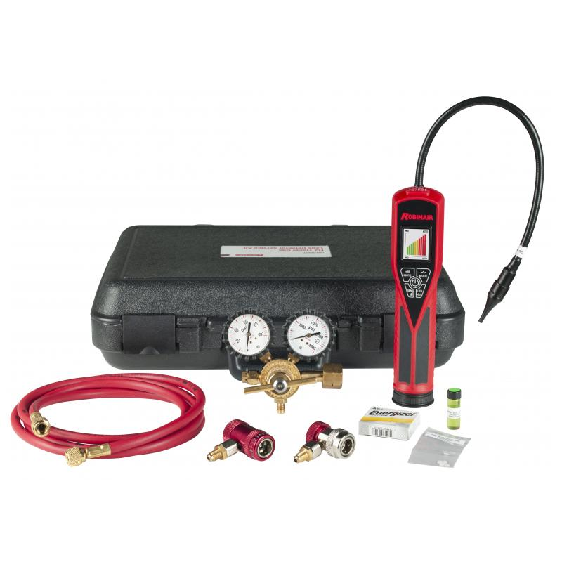 Robinair tracer gas leak detector kit with 1234yf and 134a couplers with case photo