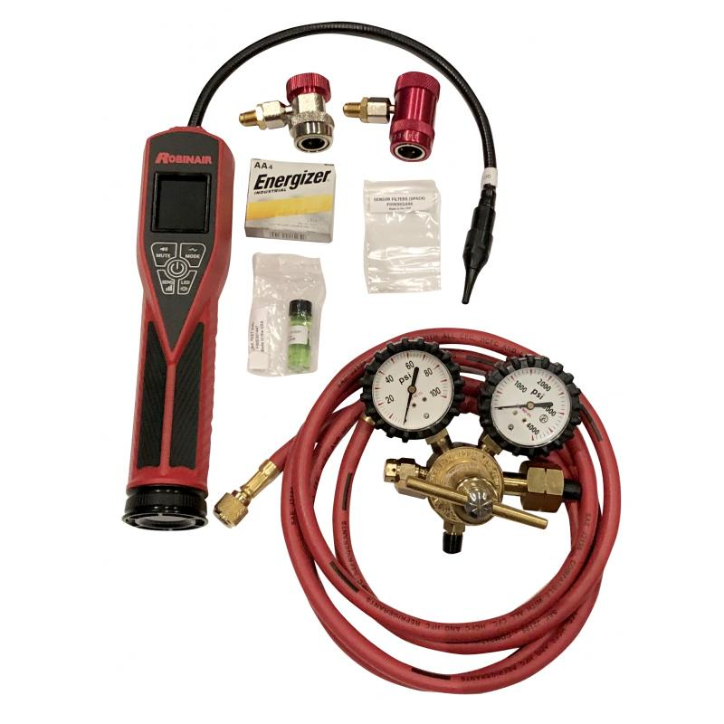 Robinair tracer gas leak detector kit with 1234yf and 134a couplers photo